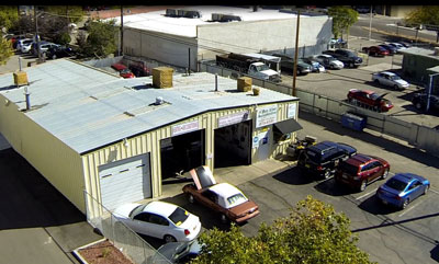 Beeline car repair shop aerial shot Albuquerque, NM